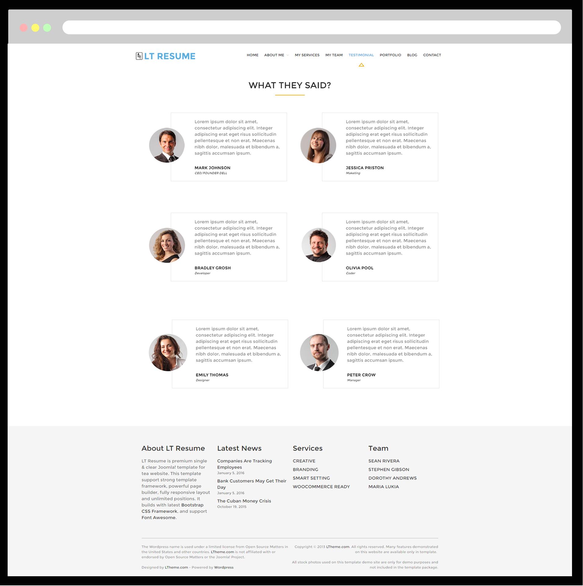 Free wordpress resume theme