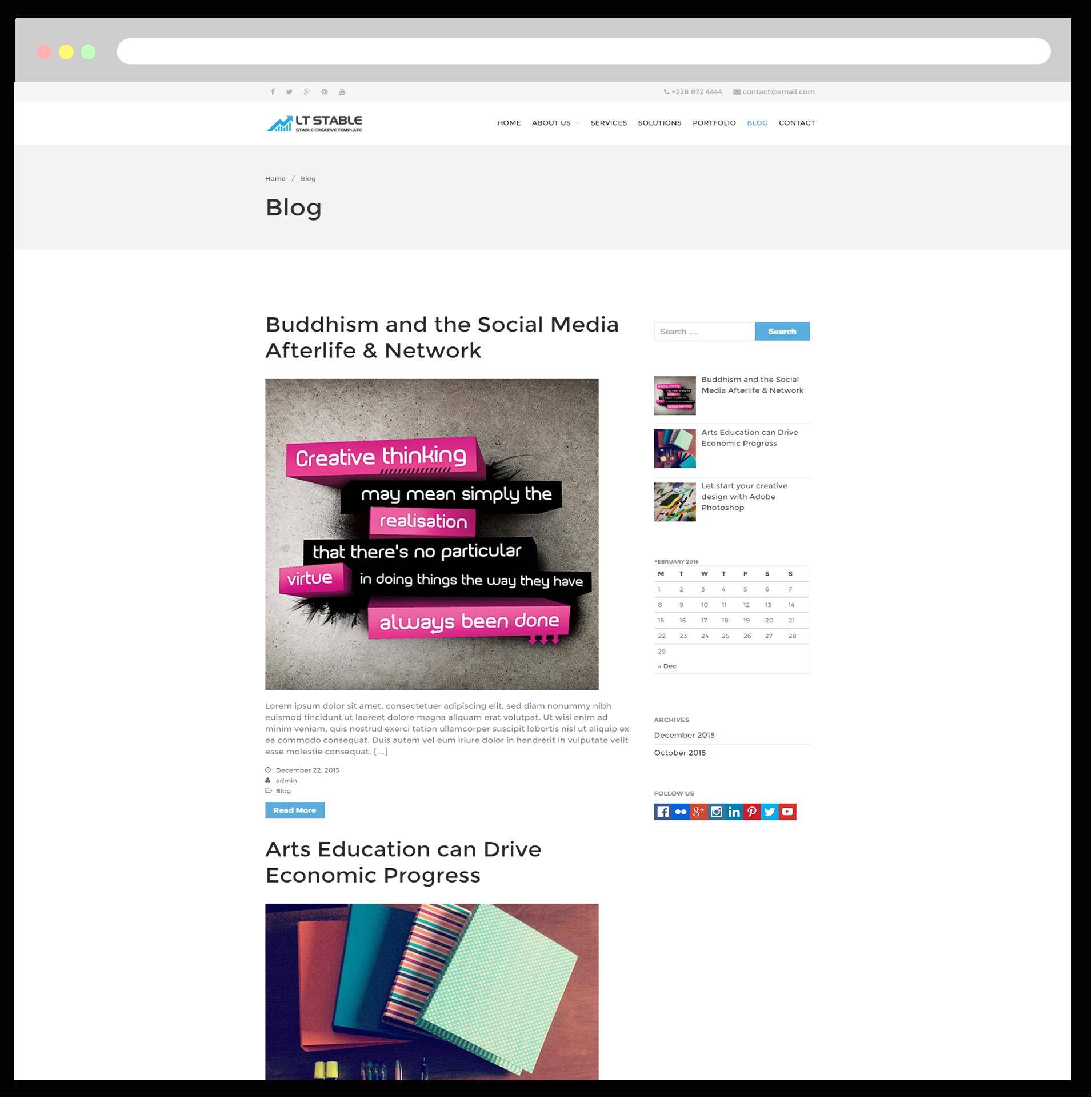 LT Stable – Free Responsive Business / Entrepreneur WordPress theme