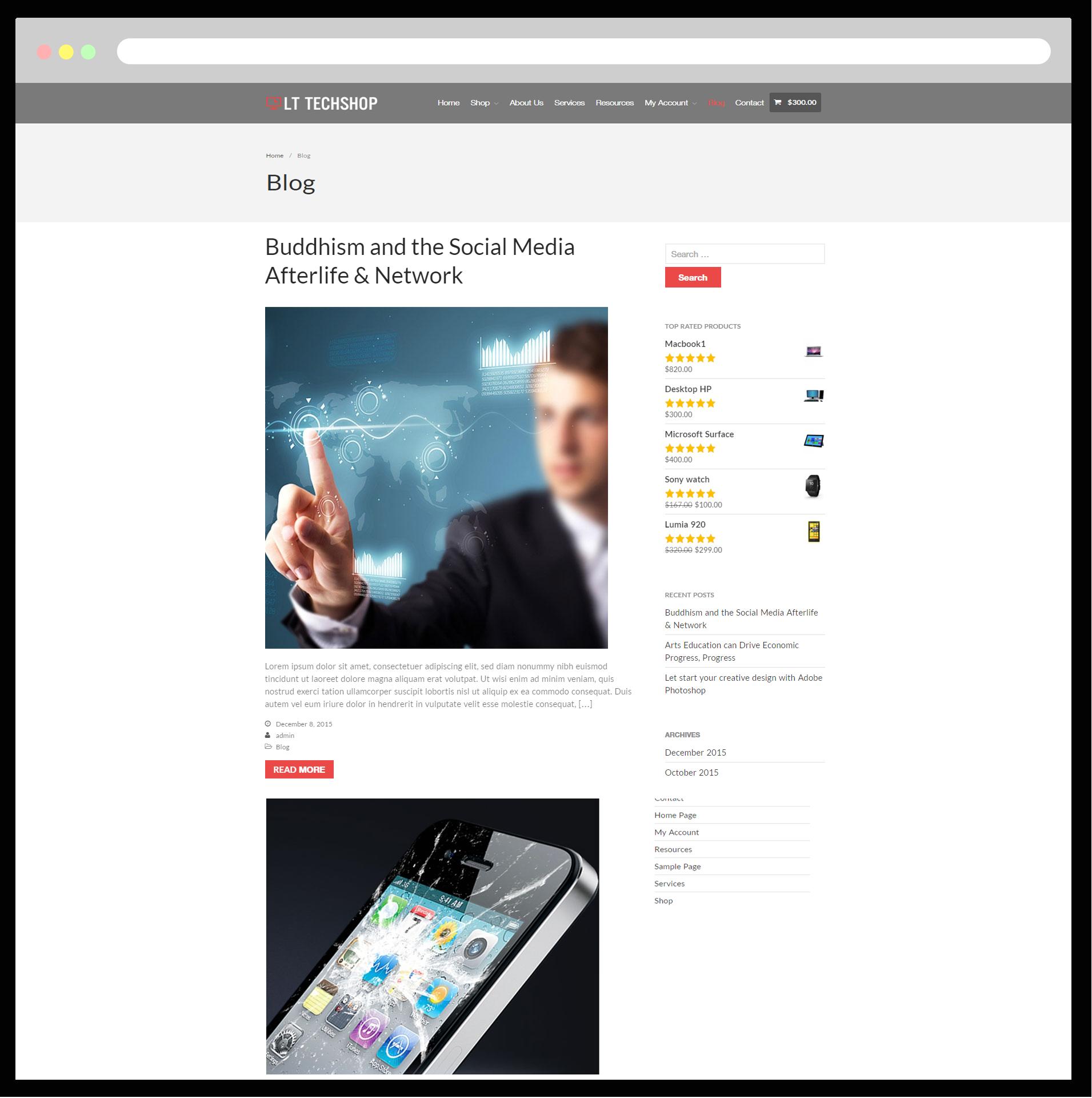 LT Tech Shop – Free Responsive TechStore WordPress theme - LTHEME