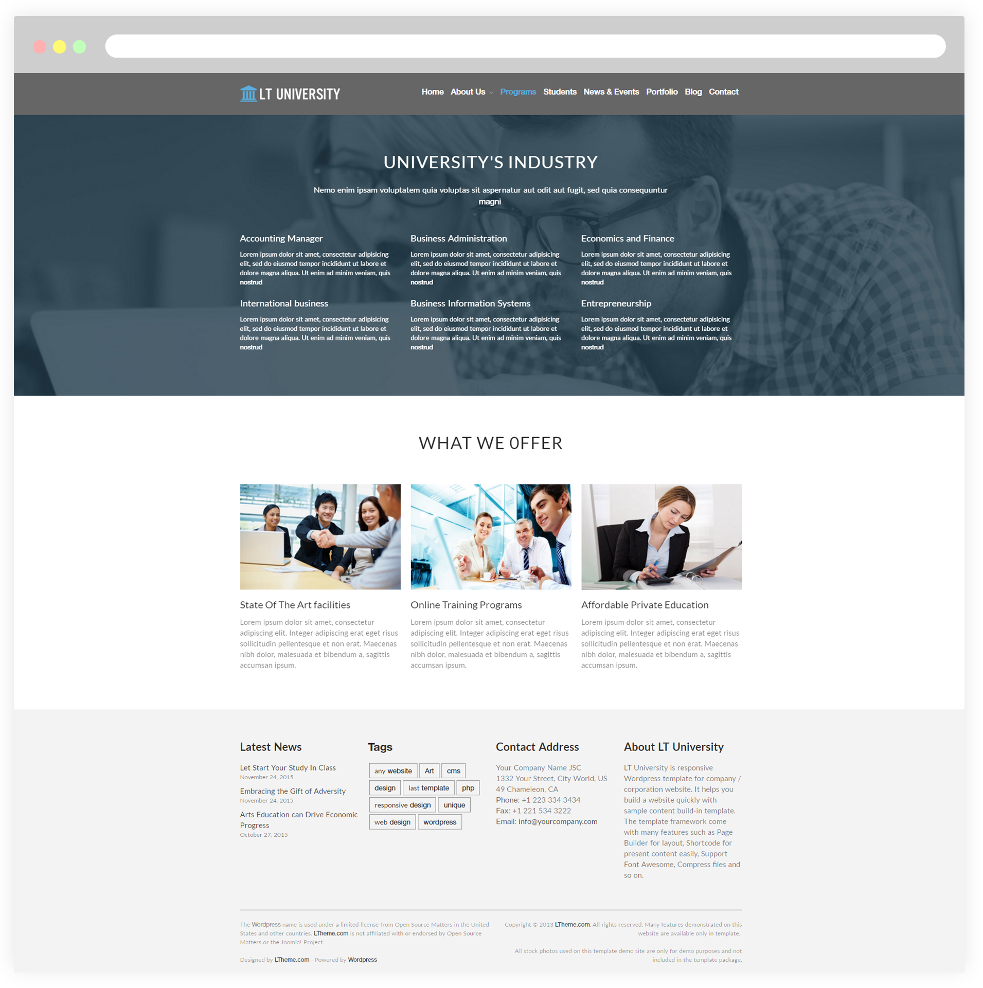 Wordpress Theme Template | Lt University Free Responsive College University Wordpress Theme