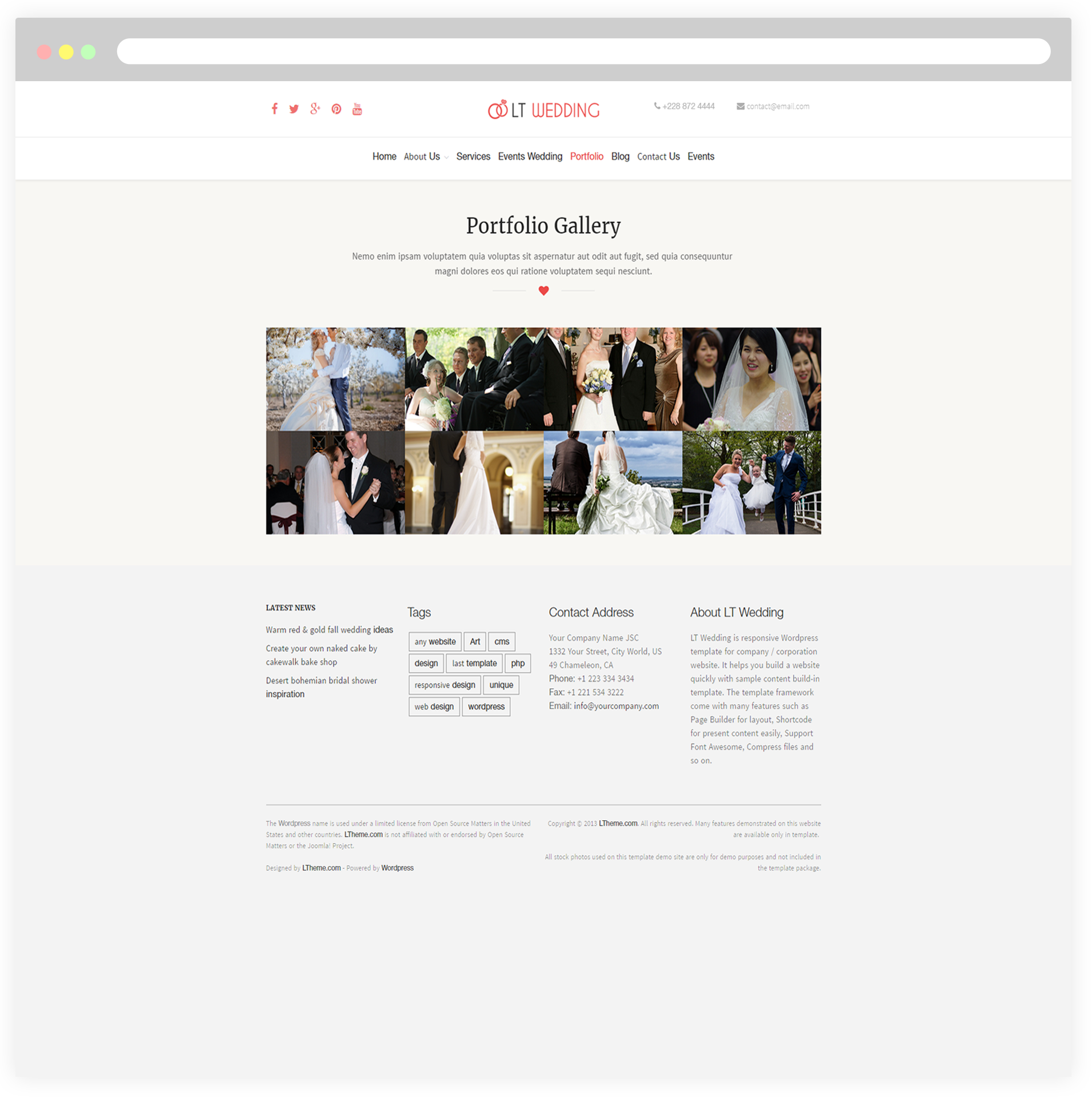 LT Wedding – Free Responsive Wedding Planner Wordpress theme ...