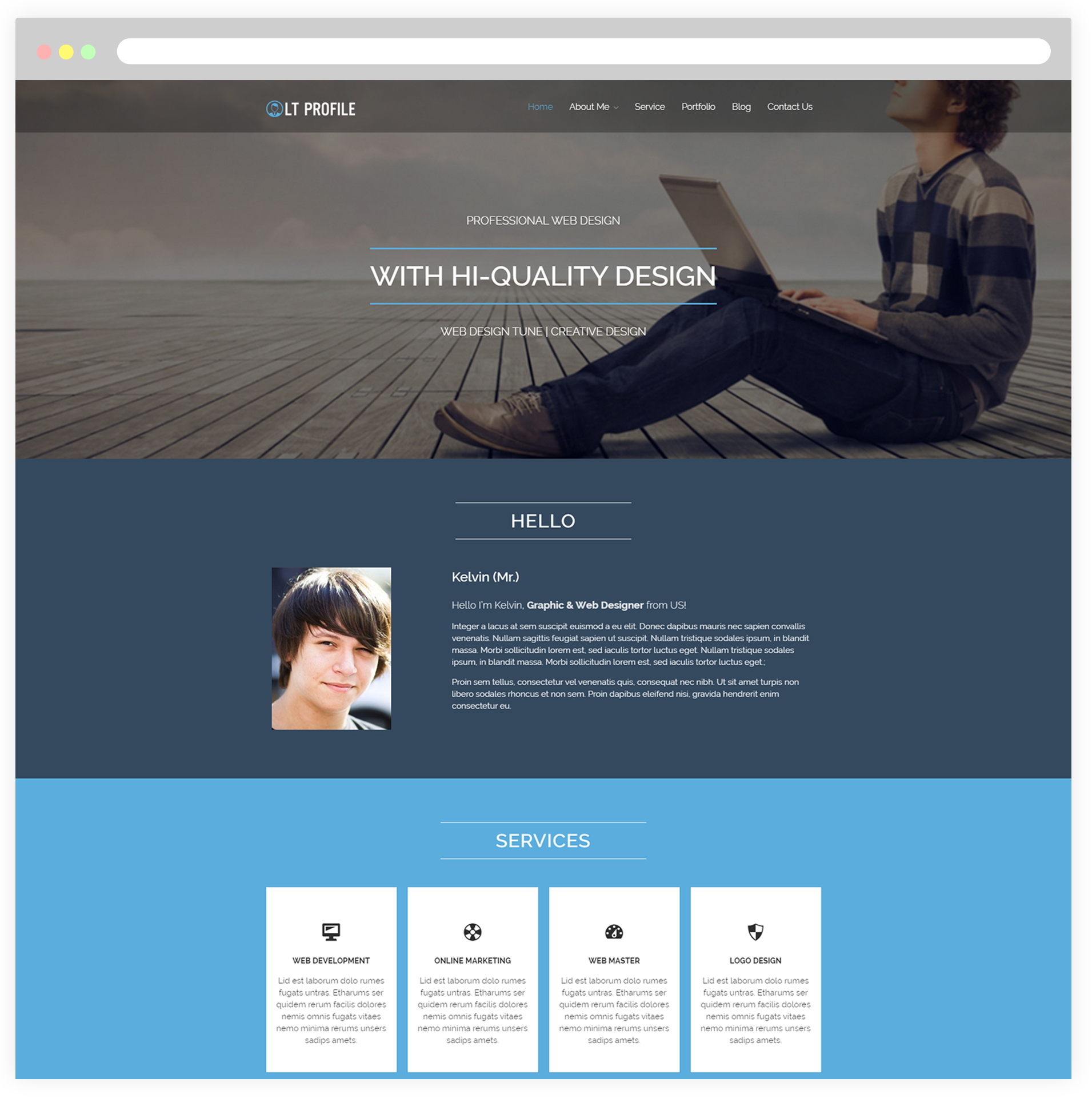 Lt profile free responsive cv profile wordpress theme for Personal profile design templates