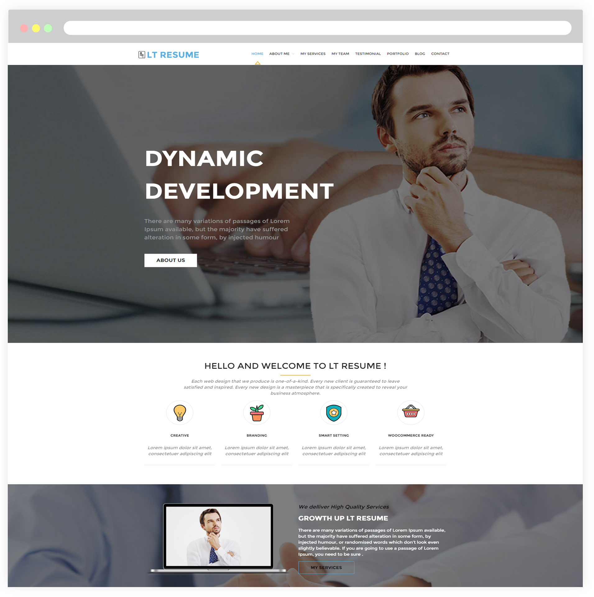 Lt resume free responsive personal cv wordpress resume theme home free wordpress theme yelopaper Images