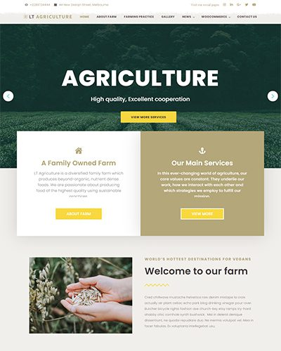 LT Agriculture – Free Responsive Farmer / Vegetable WordPress theme