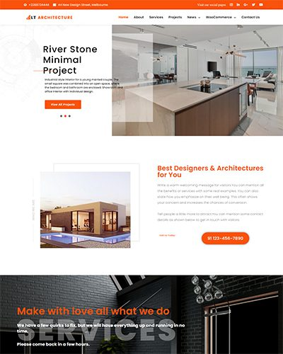 LT Architecture Onepage – Free Responsive Modern / Architecture Onepage WordPress theme