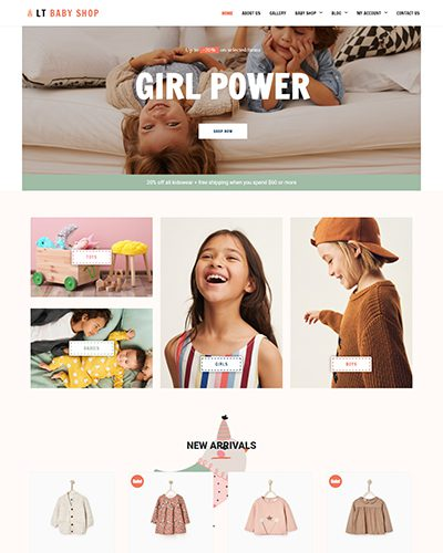 LT Baby Shop – Free Responsive Fashion WordPress Themes