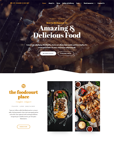 LT Food Court – Free responsive wordpress themes for restaurant