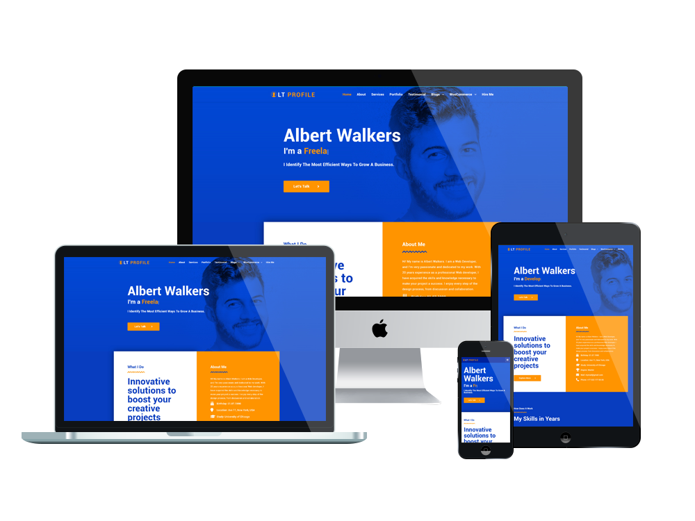 LT Profile - Free CV WordPress theme