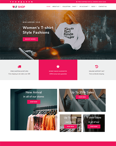 LT Shop – Free Responsive Fashion WordPress Themes