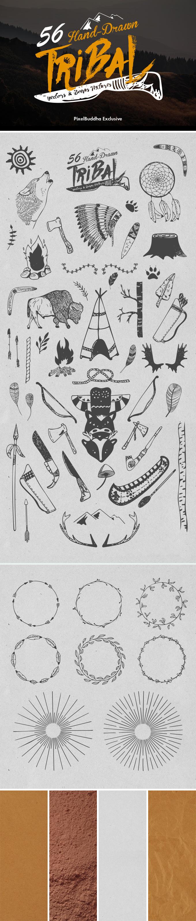 Set Of Hand-Drawn Tribal Vectors