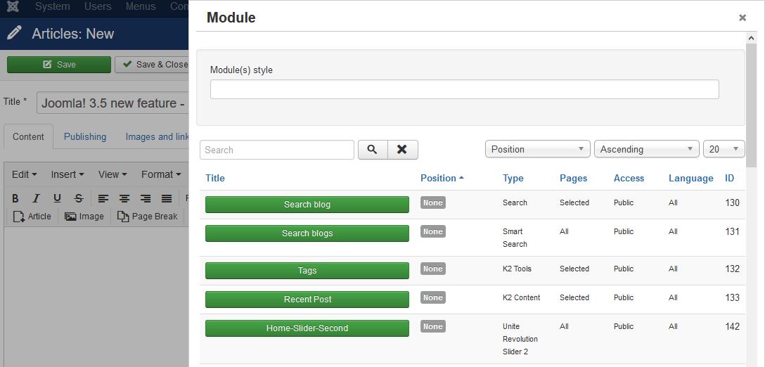 Select module via article