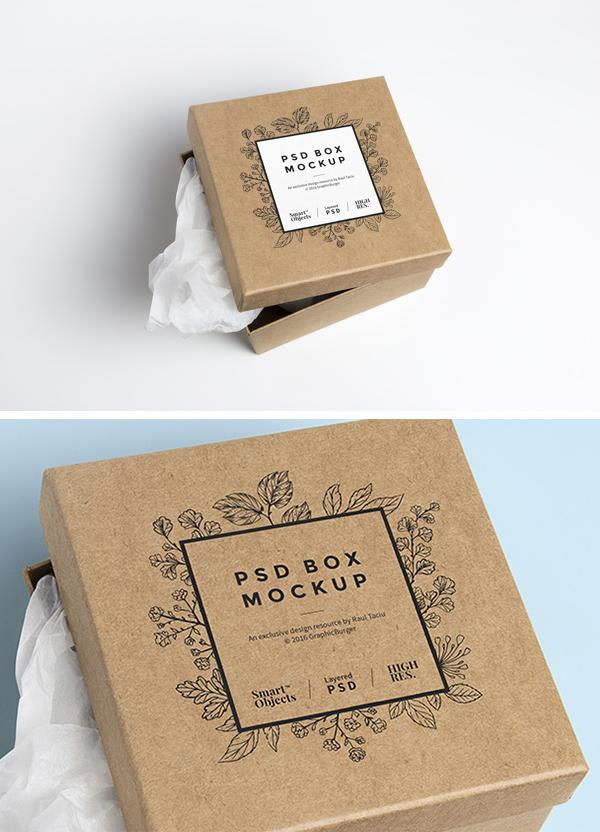 Cardboard Box Free PSD MockUp
