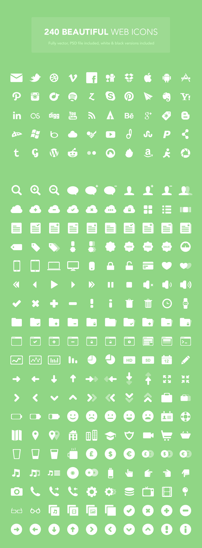 Set Of 240 Free Web Icons
