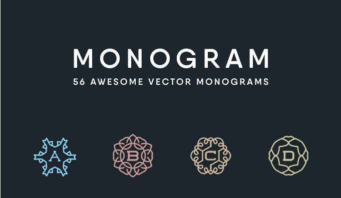Set Of 56 Awesome Monogram Vectors Free Download
