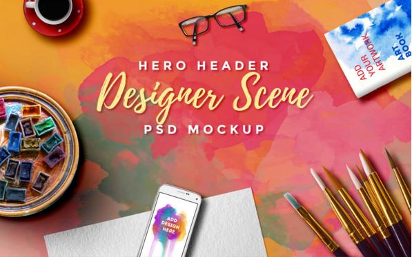 Hero Header Scene MockUp PSD Free Templates