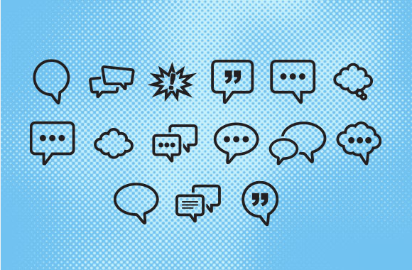 Set Of Word Balloon Vector Icons