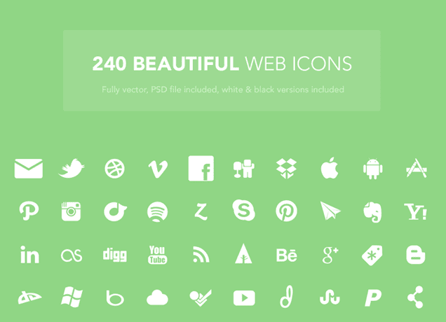 Set Of 240 Free Web Design Icons