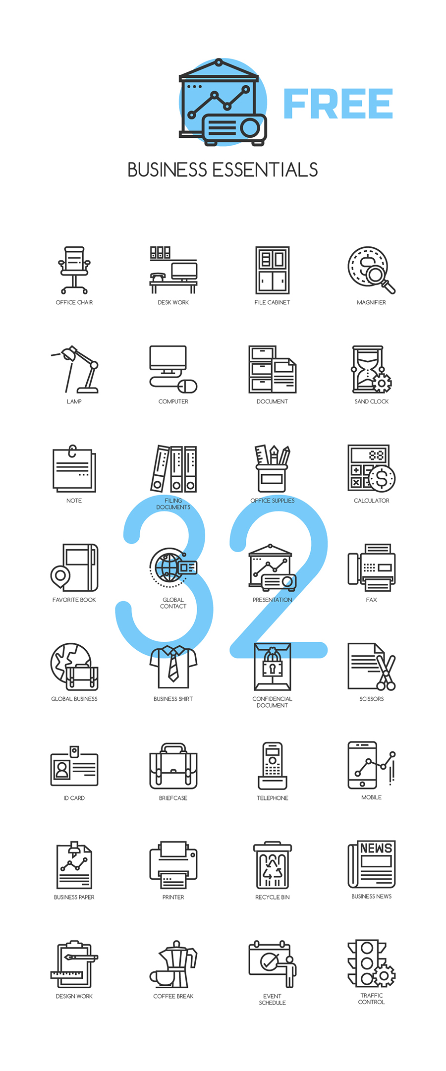 Business Essentials Free Icons Pack