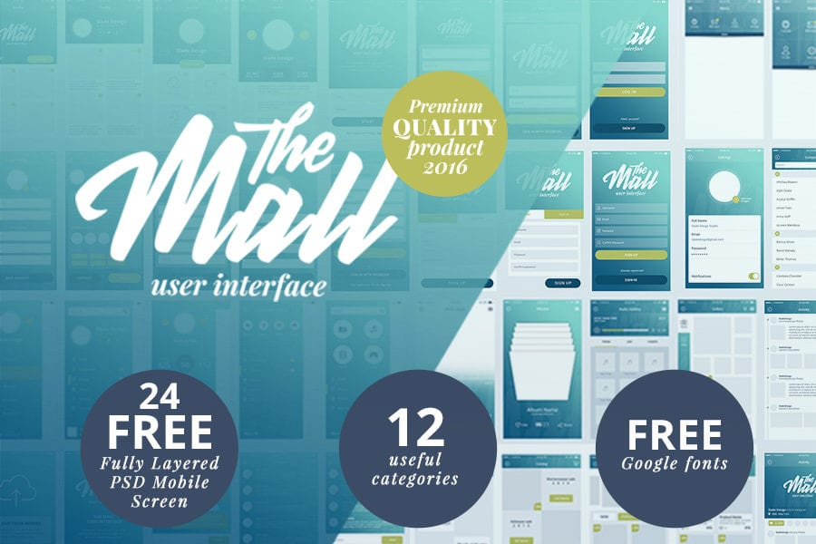Free Mobile UI kit – The Mall