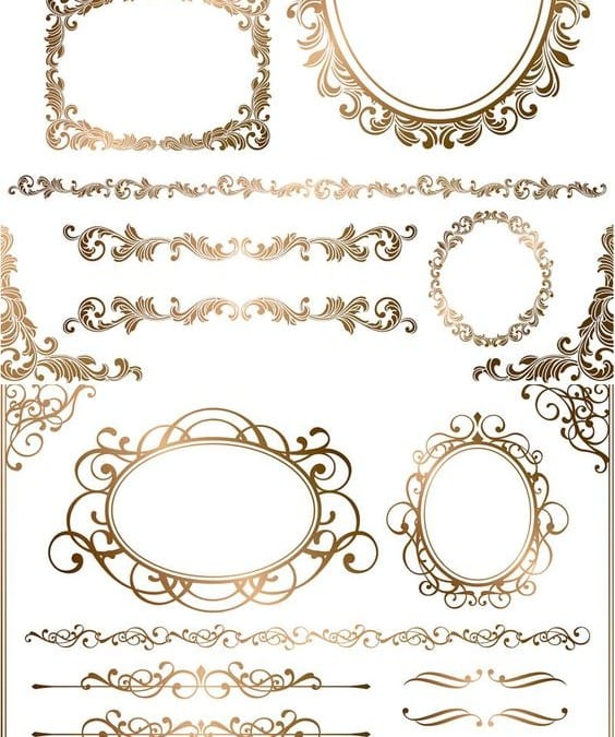 Sets Of Vector Baroque Frames And Borders For Designs