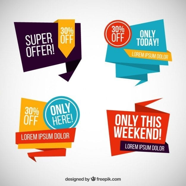 Sale Banner Designs With Origami Style