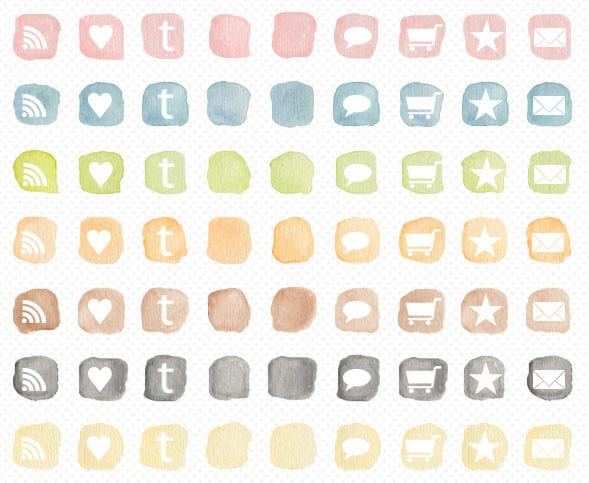 Social Icons With Watercolor Style