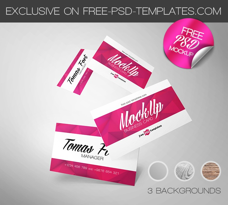Flying Business Card PSD Mockup
