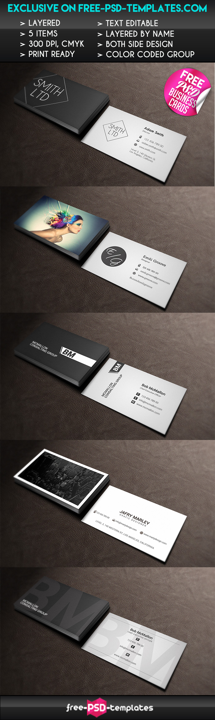 Set Of 5 Free Business Card Templates