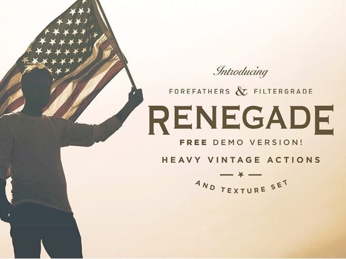 Set Of vintage Photoshop Actions:  Renegade