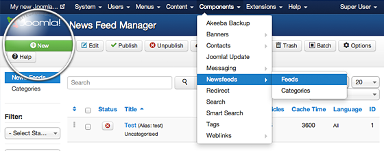 joomla how to create a menu lilnk