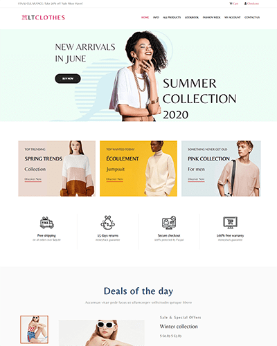 LT Clothes Shop – Free Responsive Fashion WordPress Themes