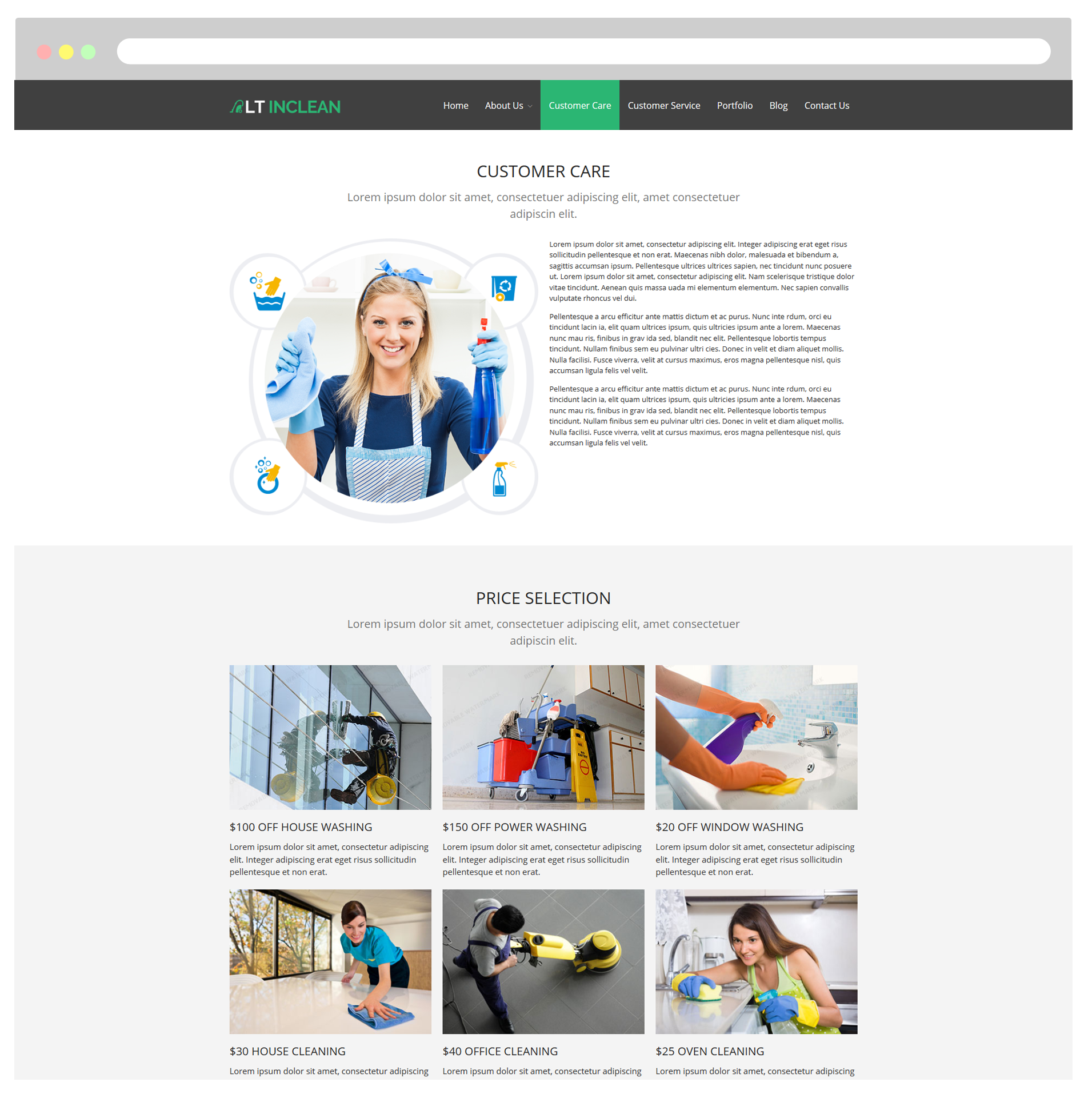 lt inclean responsive cleaning company maid service customer care page