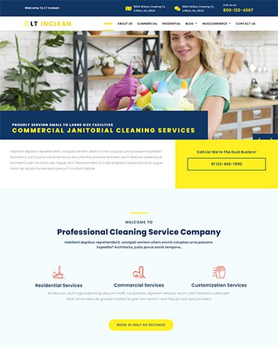 LT Inclean – Free Responsive Cleaning Company / Laundry WordPress template