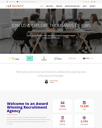LT Recruit Onepage – Free Responsive Job Board Onepage WordPress theme