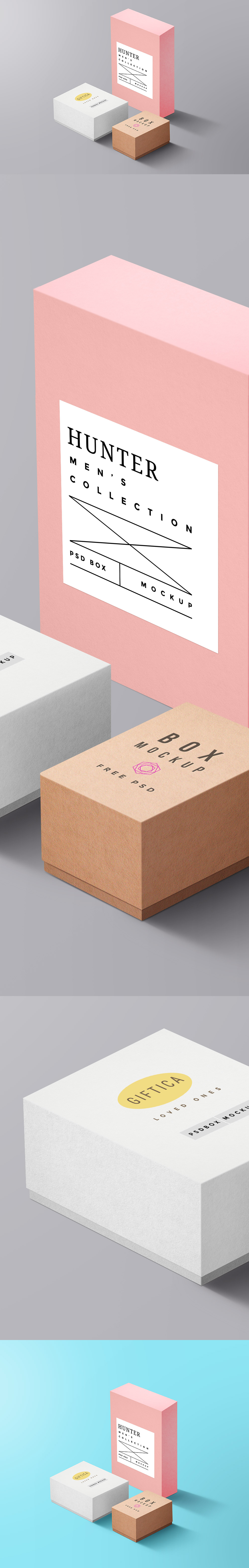 Packaging Boxes Free PSD MockUp