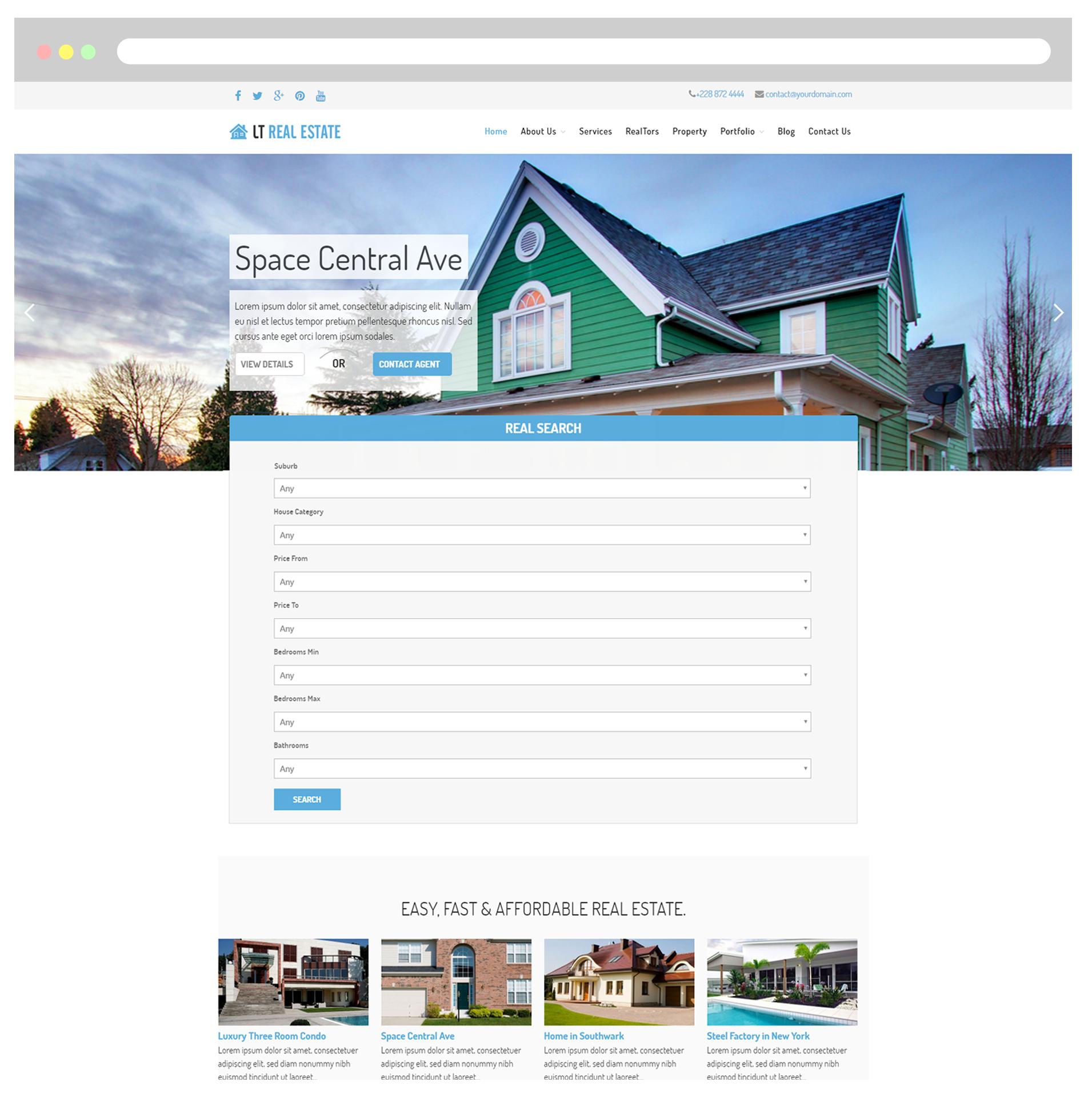 LT Real Estate Free Responsive Homes For Sales Real Estate - Real estate template wordpress