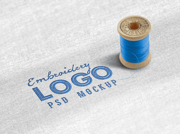 free fabric embroidered logo mockup