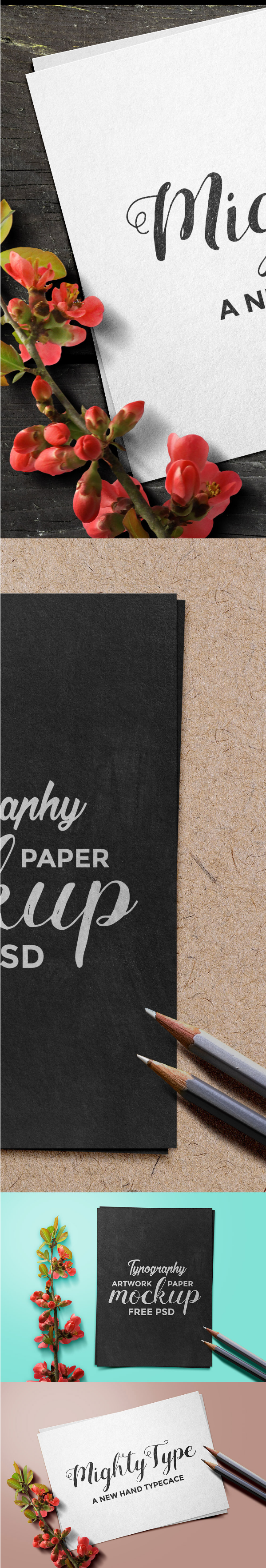 Typography Artwork Paper PSD Mockup Template