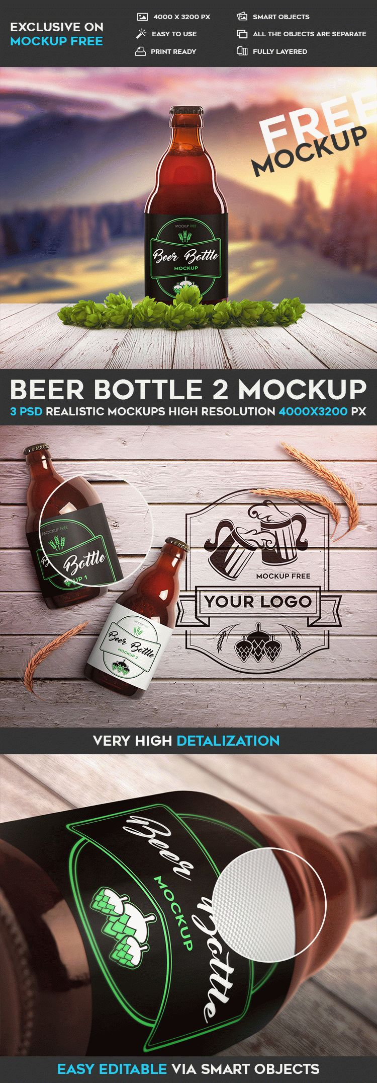 Beer Bottle Mockup Template