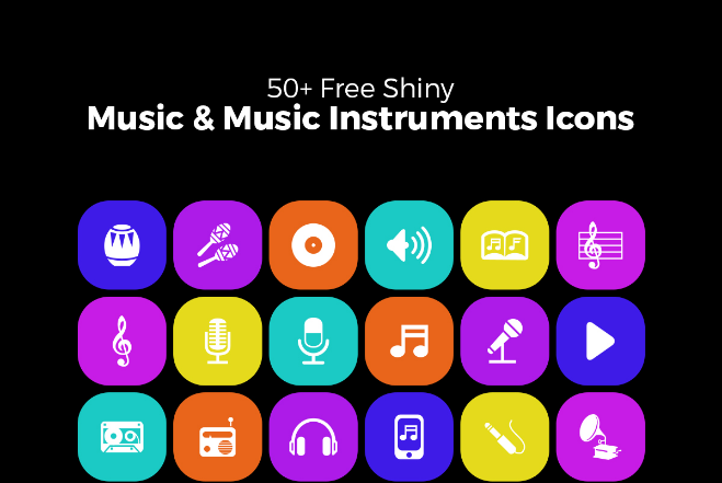 Shiny Music & Music Instruments Icons