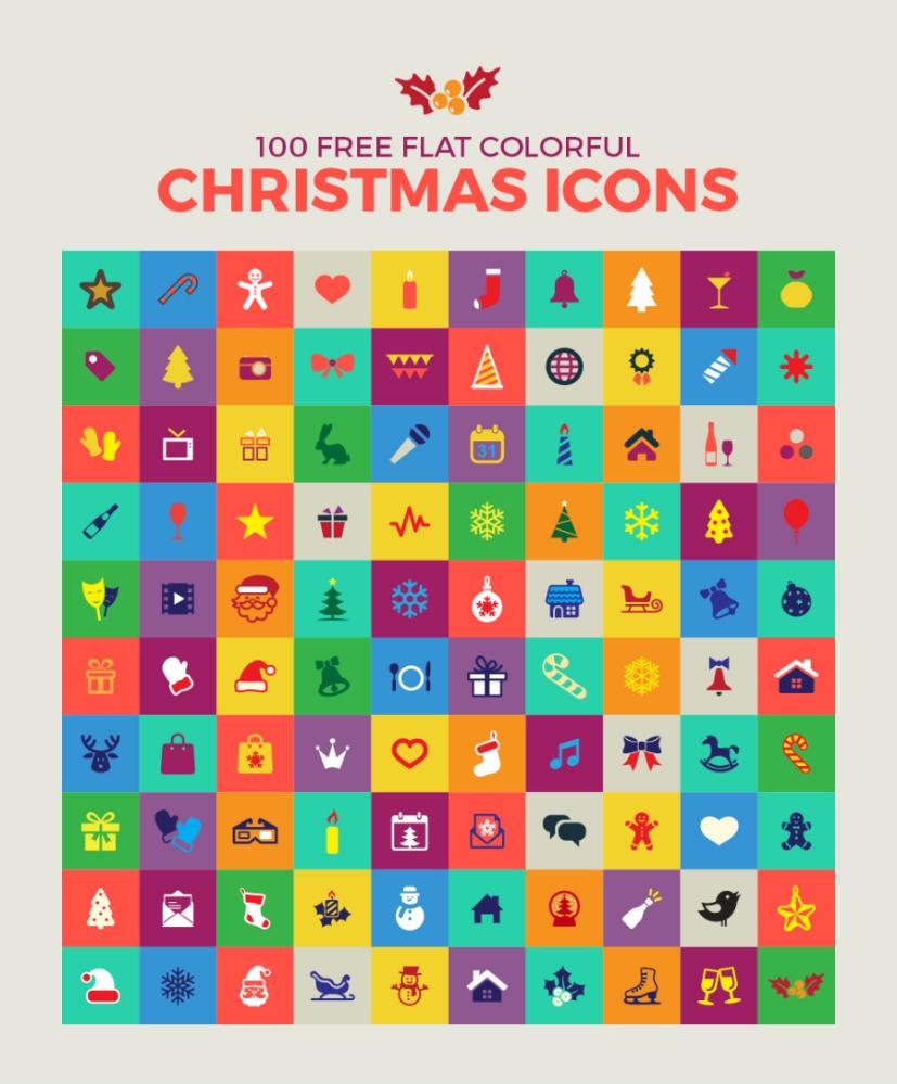 Set Of 100 Flat Free Christmas Icons