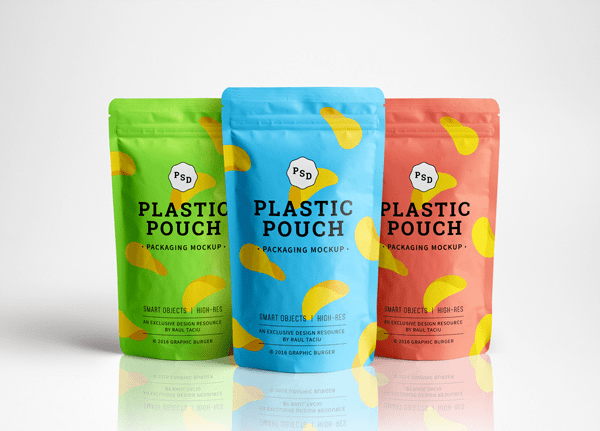 Photorealistic Plastic Pouch Free Packaging MockUp