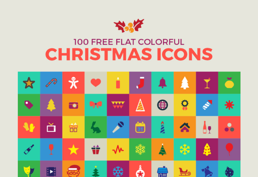 Set Of 100 Flat Free Christmas Icons