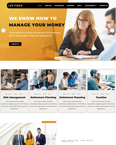 LT Finex – Free Responsive Investment Company / Finance WordPress theme