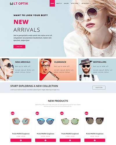 LT Optik – Free Responsive Eye Glasses / Eyewear VirtueMart Joomla template