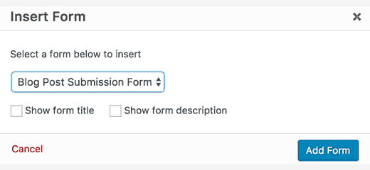 select the post submission form