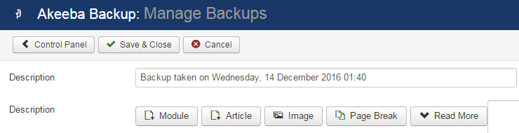 The Manage Backups In Akeeba Backup