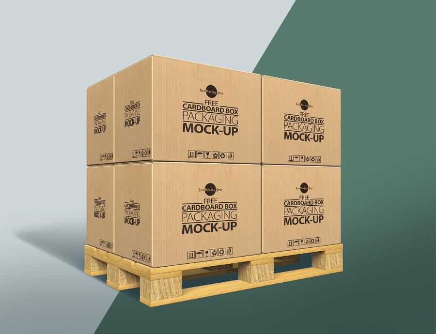 Cardboard Box Free MockUp PSD Template