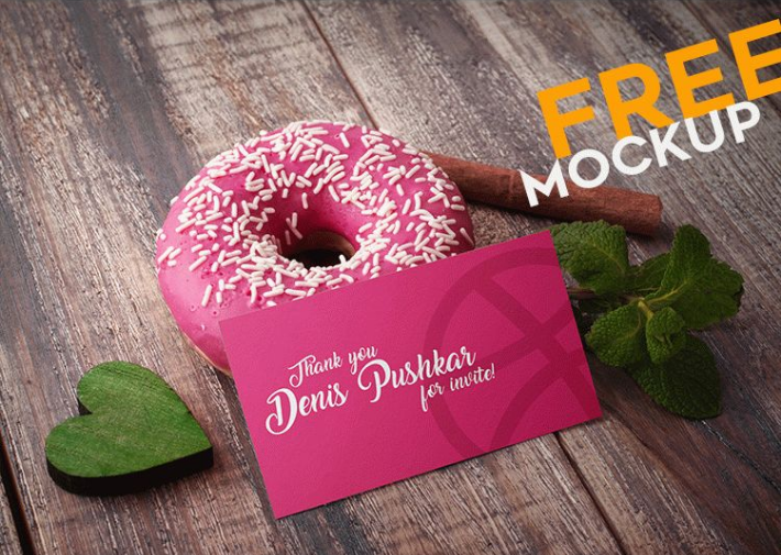 Donut Free Business Card PSD Mockup Template
