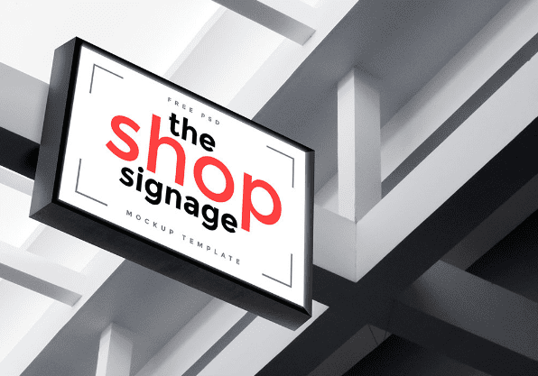 Outdoor Shop Signage PSD Mockup Template